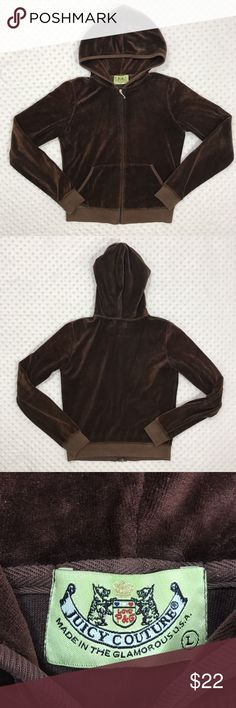 Juicy Couture Brown Velour Large Jacket Item: Juicy Couture Women's Size Large Brown Velour Full zip Track Jacket Size: Large  Refer to measurements below for accurate fit! Measured flat:   19  inches armpit to armpit      21  inches armpit to the end of the sleeve    21  inches from collar seam to shirttail        Base Color:  Brown  Fabric: Cotton, Polyester Please look at photos for better description AK043 Juicy Couture Jackets & Coats