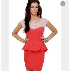Lulus coral peplum dress Such a cute dress! Purchased from lulus, worn twice. Beautiful coral color, lace back. Dainty details. Great condition Lulu's Dresses Mini