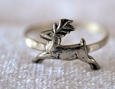 Silver Stag Ring Sterling Silver Ring Hammered by fifthheaven, $27.50