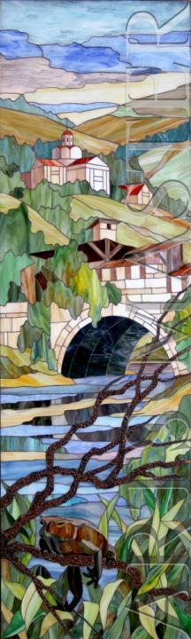 """Stained glass painting """"The River"""""""