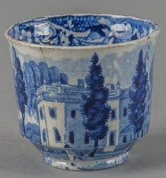 Lot: Historical blue Staffordshire Hoboken, New Jerse, Lot Number: 0560, Starting Bid: $25, Auctioneer: Pook & Pook, Inc., Auction: Historical Blue Staffordshire, Date: October 10th, 2013 EDT