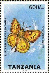 Stamp: Eastern Scarlet (Axiocerses tjoane) (Tanzania) (Butterflies of Tanzania) Mi:TZ 4642,WAD:TZ041.09