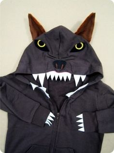 An old hoodie can become an easy (and cozy) animal outfit with some white felt or paper. A wolf, for instance