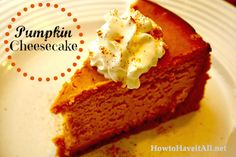 Looking for a dessert recipe? Try this New York style Pumpkin Cheesecake! So yum!