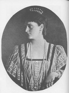 Princess Alix of Hesse pictured wearing the most expensive item ever sold by the House of Fabergé, a long pearl sautoir, given in 1894 by Tsar Alexander III and his wife to Princess Alix on the occasion of her engagement to their son, Tsarevitch Nicholas. It cost the Tsar 250,000 roubles - the equivalent of approximately £22.5 million today.