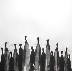 14 x 14 Modern Zen Abstract Original Black and White by Manjuzaka, €38.00