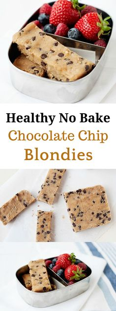Healthy No Bake Chocolate Chip Blondies are going to change how you eat snacks! - Healthy No Bake Chocolate Chip Blondies are going to change how you eat snacks! Healthy No Bake Chocolate Chip Blondies are going to change how you eat snacks! Healthy Sweets, Healthy Baking, Healthy Drinks, Kids Healthy Snacks, Vegan Meals, Health Sweet Snacks, How To Eat Healthy, Healthy Snack Recipes, Healthy Food Alternatives