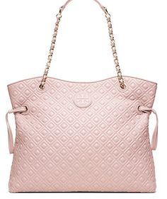 Blush pink quilted tote bag