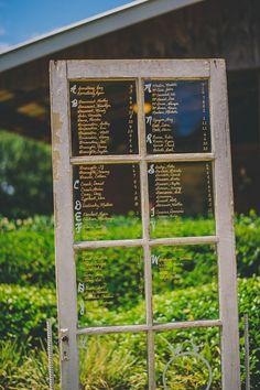 Rustic Window Pane Glass Door Wedding Seating Chart