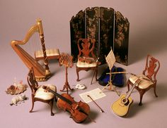 Music Room from the collection of Madame Ingeborg Riesser...Amazing!   ( poupendol.com)