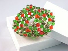 Bracelet Memory Wire in Red Green and Antique Gold by juBEADlation, $8.00