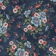 Designed by Mary Jane Carey of Holly Hill Quilt Designs for Henry Glass Fabrics, Flowers of Provence Master Floral fabric is great for quilting, apparel and home decor. Glass Flowers, Blue Flowers, Flower Prints, Flower Art, Wallpaper For Sale, Flower Texture, Mid Century Art, Cotton Quilting Fabric, Decoupage Paper