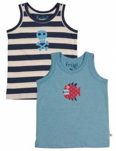 Frugi Αμάνικα Φανελάκια για Αγόρια Μπλε, Ριγέ, Σετ των 2 Uk Brands, Mini Boden, Tank Man, Underwear, Kids, Mens Tops, Blue, Clothes, Fashion