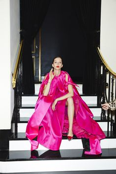 Throughout:Alana Zimmer in a Reem Acra gown, Paule Ka cape, Sara Weinstock cuff and ring, AS29 ring, and Roger Vivier shoes.
