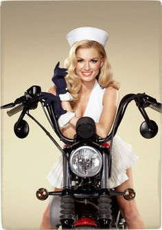 Biker Girl Photo: Supermodel Marisa Miller Dressed Like a U.S. Army Nurse and Posing on a Harley-Davidson Motorcycle