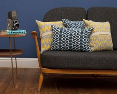 knitted cushions yellow and blue