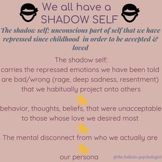 The shadow self is the repressed part of self. It is the part of us that we cannot see because our ego works tireless to defend us from it. Mental And Emotional Health, Emotional Healing, Self Healing, Inner Child Healing, Emotional Intelligence, Ms Gs, Spiritual Growth, Spiritual Awakening, Self Development