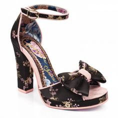 The perfect pair of strappy heels for the summer, these gorgeous embroidered floral beauties are the perfect flattering platform for your pins. Comes with a chunky heel and small platform, a buckle fastening ankle strap, contrasting piping, an embroidered Fancy Shoes, Unique Shoes, Crazy Shoes, Cute Shoes, Me Too Shoes, Irregular Choice Shoes, Formal Heels, Shoes Heels Wedges, Strappy Heels