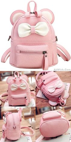 95b11e93591a Cute Mini Bow Kitty Ears Small Cartoon Book Bag ❤ Cute Mini Backpacks