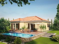 Bungalow 80 • Mediterranes Haus von HANSE HAUS • Moderner Bungalow mit offenem Wohn- und Kochbereich • Jetzt bei Musterhaus.net informieren!