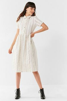 Shop Nice Martin + UO Anderson Button-Down Dress at Urban Outfitters today. We carry all the latest styles, colors and brands for you to choose from right here. Shirtwaist Dress, Urban Dresses, Button Down Dress, Ladies Dress Design, I Dress, Shirt Outfit, Spring Summer Fashion, Short Sleeve Dresses, Short Sleeves