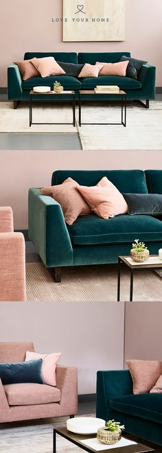 Jasper - Modern Sofa- Love Your Home – The Jasper Sofa upholstered in Mohair Velvet 'Peacock' accessorised with blossom velvet cushions. Love Your Home – The Jasper Sofa upholstered in Mohair Velvet 'Peacock' accessorised with blossom velvet cushions. Living Room Green, New Living Room, Living Room Interior, Living Room Decor, Teal Living Room Sofas, Kitchen Interior, Kitchen Design, Living Room Color Schemes, Living Room Designs