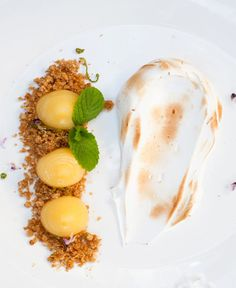 deconstructed lemon meringue pie this would be so easy only with a blueberry filling or whatever grandma and grandpa like! its so much easier than pie! Gourmet Desserts, Fancy Desserts, Lemon Desserts, Plated Desserts, Dessert Recipes, Desserts Panna Cotta, Deconstructed Food, Dessert Presentation, Anzac Biscuits
