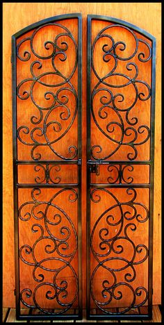 Iron Wine Cellar Door – Gate, Double Door, Hand Forged Steel, 36 by 80 Eyebrow Arch The Bordeaux Double Door Iron Wine Cellar Door – Modelos de Puerta Steel Image, Double Entry Doors, Wrought Iron Doors, Door Gate, Forged Steel, In Vino Veritas, Iron Decor, Gate Design, Steel Doors