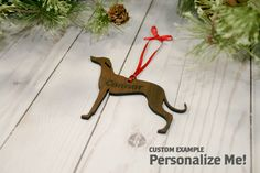 Customizable Whippet Christmas Tree Ornament
