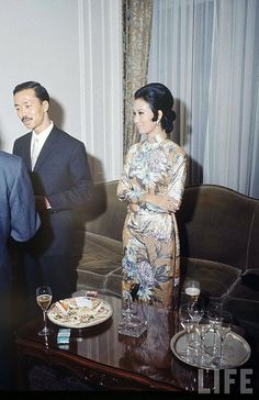 1968 Paris - South Vietnam VP Cao Ky Nguyen (2L) and wife at reception given by South Vietnam Peace Talks Delegation.
