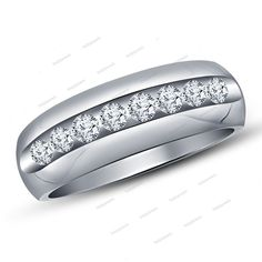 Solid White Gold Finish Simulated Diamond Wedding Men's Band Ring Free Shipping…