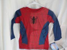 NEW BOY'S MARVEL SPIDERMAN TEE SHIRT RED COTTON LONG SLEEVE  #marvel #EverydayHoliday