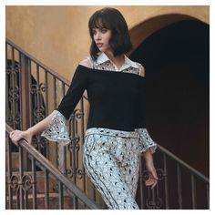 Step into Cruise with our VEOLIE sweater featuring detachable lace cuffs and yoke. Versatility at its finest. Cruise Collection, Lace Cuffs, White Shirts, Lace Fabric, Classic Looks, Elegant Dresses, Looking For Women, Black Sweaters, Work Wear