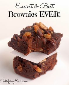 Best Brownies Ever! Grain-fee and Low-Carb brownies that can be made nut-free as well. They remind me of Little Debbie Brownies... these are a crowd pleaser! www.satisfyingeats.com---super easy but 20  minutes was not enough in my oven, will do 25 next time. Also subbed sugar free vanilla syrup for the honey in the recipe--after making these a second time and increasing the cook time, i retract that and will go back to 20 minutes