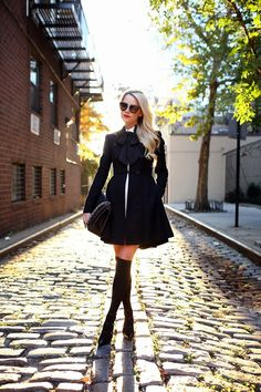Jacket: Alice + Olivia c/o Top: ALC Bow: ASOS. Knee Highs: ASOS. Shoes: Gianvito Rossi. Bag: Chanel c/o LXR and Co. Skirt: Alice + Olivia