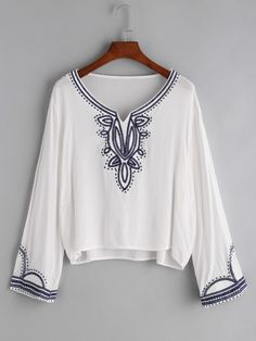 1b1c99589d8 White V Cut Embroidered T-shirt Shirt Blouses
