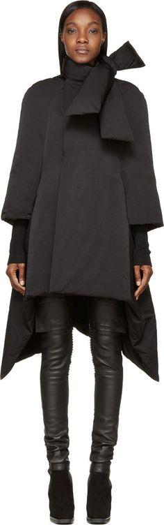 Rick Owens - Black Flared Duvet Scarf Coat