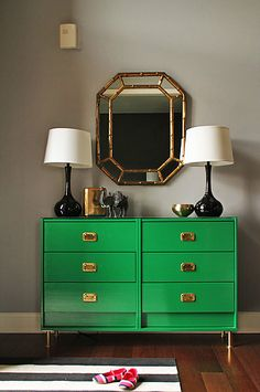 IKEA emerald green dresser with brass campaign style hardware and brass legs Gray Bedroom Walls, Grey Walls, Bedroom Green, Green Bedrooms, Neutral Walls, Bedroom Black, Bedroom Dressers, Dresser As Nightstand, Ikea Rast Dresser