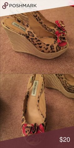 Steve Madden leopard print wedges Steve Madden leopard print wedges, hint of red ruffled front, sling back strap, comfortable wedge, worn once from previous owner on Posh and it just sat in my closet in a box, I bought them because I love the style of shoe, I need down size. I'm posting these and offers welcomed Steve Madden Shoes Wedges
