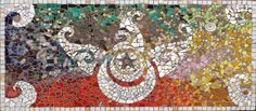 Mosaic altar table. Glass, gem stones, jewelry bits, horse teeth and love.