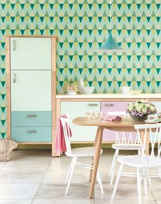 Self adhesive wallpaper, wall decal - Triangle pattern - 023 mint/ emerald/ chartreuse/ poison/ pine by Betapet on Etsy https://www.etsy.com/listing/212445533/self-adhesive-wallpaper-wall-decal
