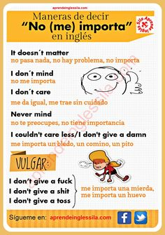 Maneras de decir no me importa #English