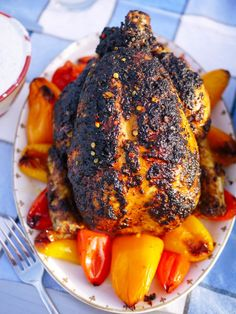 Spicy Portugese Roast Chicken with Sweet Peppers