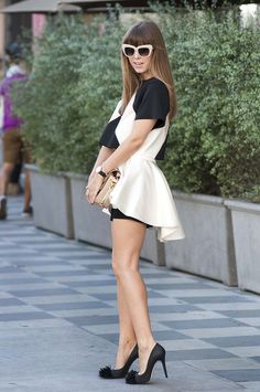 black and white ruffled dress with classic pumps