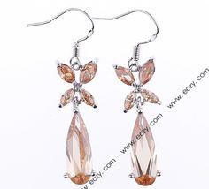 31x10mm Butterfly 925 Sterling Silver Jewelry Crystal Hook Dangle Earrings