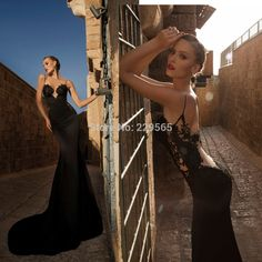 Backless Black Satin Mermaid Evening Dress With Lace.