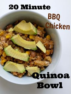 20 minute BBQ chicken quinoa bowl.  A healthy dinner in one bowl and ready in 20 minutes!  A great clean-eating dinner recipe.