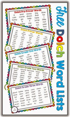 Free download: Pre-primer, Primer, Grade One, Grade two and Grade Three Dolch lists