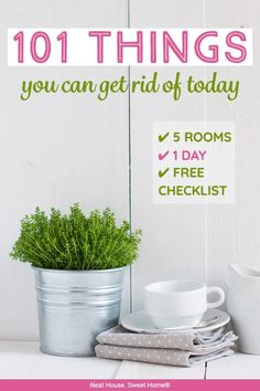 Drowning in clutter? Don't seem to have enough time to declutter your home? Here is a free printable checklist of 101 things you can get rid of today.