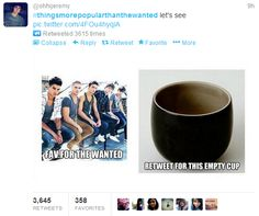 haha a empty cup is more popular that's what you get for hating 1D